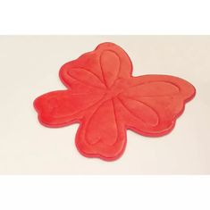 China Embossed Butterfly Memory Foam Bath Rugs , Memory Foam Carpet For Kids Cute Pattern Red Color supplier