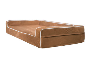 Waterproof Memory Foam Orthopedic Dog Bed , 3 Sided Bolster Memory Foam Dog Crate Bed
